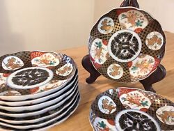 Set Of 10 Vintage Imari Plates Hand Painted With Gold Rim