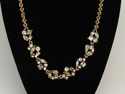 Patricia Locke 19 5 Wildflowers Necklace Gold Plate All Crystal Nwot