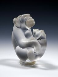 Sevres Chimpanzee Mother And Child Crystal Glass Figurine - France