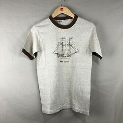 Vintage 80s Men MED Short Sleeve Ringer Boat Ship Gaspee Sailing Graphic T shirt