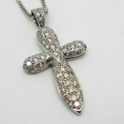 18ct White Gold 1.00ct Diamond Cross And Chain Stunning Rrp Andpound2500 Pendant Necklace