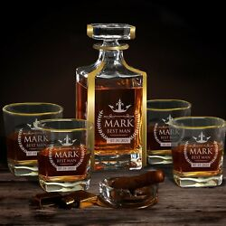 Custom Whiskey Decanter With Gold Trim Accents - Set Decanter With 4 Glasses