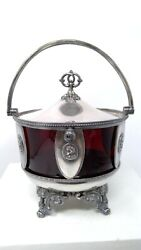 Vintage Simpson Hall Miller Silverplate Covered Bowl With Red Glass Insert