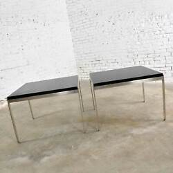 Pair Vintage Large Modern Square End Tables In Stainless Steel With Black Lamina
