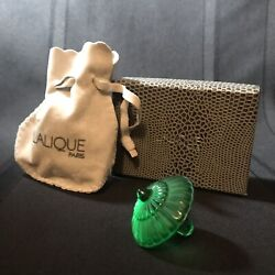 Lalique Crystal Dreidelgreenw/ Pouch And Boxnew Old Stockrarespinning Top