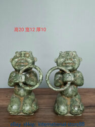 8 Antique Chinese Bronze Ware Dynasty Palace People Ring Kneel Statue Pair