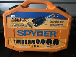 Spyder 18 Piece Carbide Tipped Hole Saw Kit With Rapid Core Eject Technology.