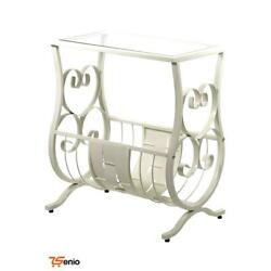 White Antique Outdoor Metal Table With Tempered Glass - Rsenio