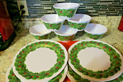 10 Piece Christmas Holly Plastic Dish Set 4 Plates And 6 Bowls