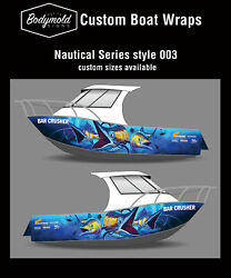 Premium Quality Boat Wrap. 6000mm X 700mm 2 Sides Nautical Series Style003