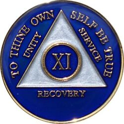 Recovery Mint 11 Year Aa Medallion - Tri-plate Eleven Year Chip/coin - Blue