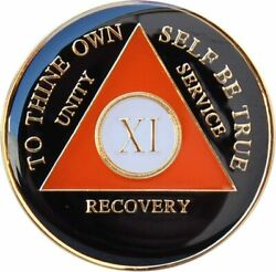 Recovery Mint 11 Year Aa Medallion - Tri-plate Eleven Year Chip/coin - Orange/bl