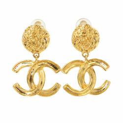Swing Earrings Coco Logos Gold 95a Vintage Accessory 90118356