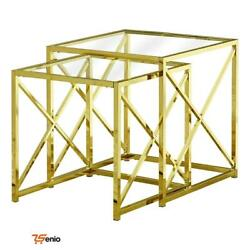 2 Piece Nesting Table Set Gold Metal With Tempered Glass - Rsenio