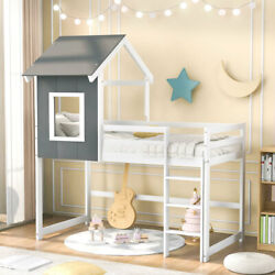 Cute Twin Over Twin Low Bunk Bed / Loft Bed W/ House-shaped Frame For Kids Us