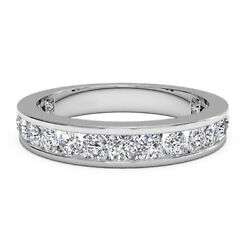 1.00 Ct Natural Diamond Eternity Ring For Bridal 14k Solid White Gold Size 5 6