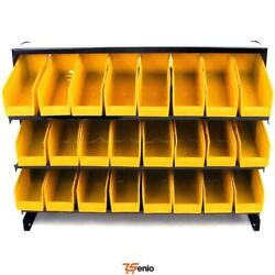 24 Bin Parts Storage Rack Trays Tools Crafts Beads Garage Table Top Nuts Bolts -