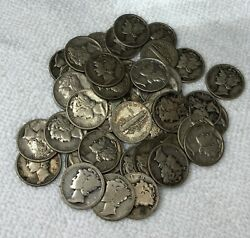 Lot Of 50 Collectible Mercury Silver Dimes 5 Face Value 90 Us Coin