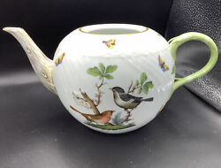 Herend Rothchild Teapot No Lid Birds Butterfly Large Spout -handle 12andrdquo