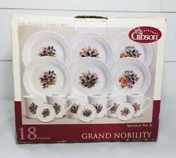 Vintage Gibson Dessert Set Dishes Christmas Holly Design Grand Nobility 18 Piece