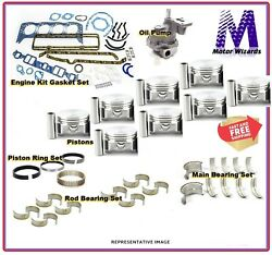 Chevy Gm 4.8 5.3 2002-13 Engine Kit Flat Top Press Pistons+rings+bearing+gaskets