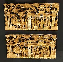 Antique/vintage Pair Chinese 3d Gold Gilt War-field Scenery Wood Carving Panels