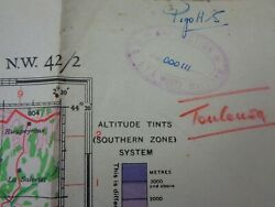 Ww2 1944 Raf 'hq' Map Toulouse Includes The Pyrenees And Atlantic Coastline