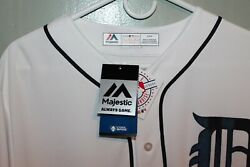 Detroit Tigers Majestic Mlb Blank Back Mens Game Jersey White  110 New