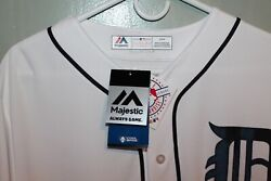 Detroit Tigers Majestic Mlb Blank Back Mens Game Jersey White  120.00 New