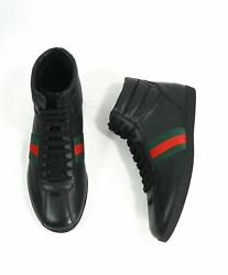 700 -red And Green Logo Stripe Gg High Top Black Sneakers- 6g / 6.5 Us