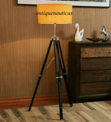 Antique Wooden Tripod Lighting Stand Nautical Floor Lamp Shade Collectible