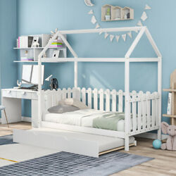 Cute Twin Size House Bed W/ Trundle Fence-shaped Guardrail For Kids Bedroom Us