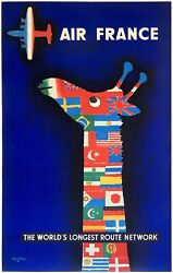 Original Vintage Affiche Air France The Worldand039s Longest Route And039networkand039 Ligne Ol