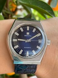 Zenith Watch Automatic Cal.2672 Pc Date Blue Dial Mens 37mm Swiss.just Serviced
