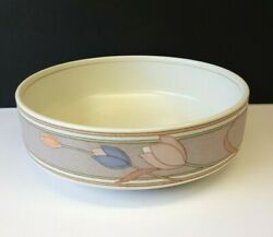 Mikasa Intaglio Meadow Sun 8⅜ Vegetable Bowl Cac02 Pastel Tulips Taupe Band