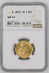 🙃 Best Price On Ebay Great Britain 1914 Sovereign Sov Gold Ngc Ms63