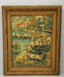 Georges Lambert French 1919-1998 Boats / Harbour Nautical Painting/ Board Listed
