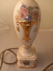 Vintage Mid Century Deena China 22k Gold And White Table Lamp Hand Painted