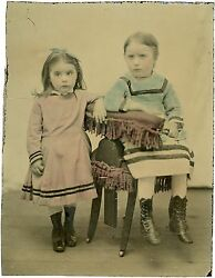 Ferrotype Tintype Colorisé - 2 Petites Filles Little Girls - Photo Hand Tinted