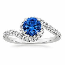 Solid 14k White Gold Band 1.38 Ct Natural Diamond Real Blue Sapphire Ring Size 9