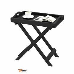 Wooden Folding Table Tray Black Removable Top End Table Entryway Home Decor - Rs