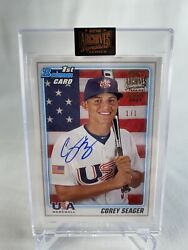 2021 Topps Archives Corey Seager 1/1 Rookie Auto First Bowman World Series Mvp