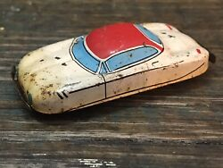 Vintage Tin Friction Car Japan Small White Red Blue Futuristic