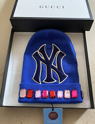 Nwt Mens Wool New York Yankees Beanie Hat Blue Size M Italy