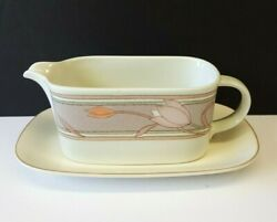 Mikasa Intaglio Meadow Sun 8 Gravy Boat W/ Detached Underplate Cac02 Pink Taupe