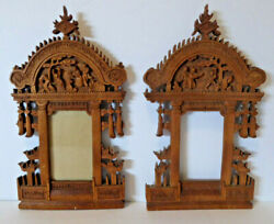 Pair Hand Carved Wood Temple Picture Frames Asian Antique Vintage