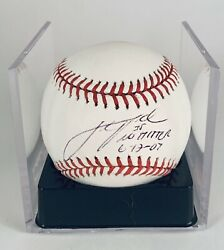 Justin Verlander Autographed Ball - Inscribed First No-hitter Bas Cert And Ticket