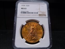 1924 Ms63 St Gaudens Double Eagle 20 Gold Ngc Certified - Beautiful Coin/pq