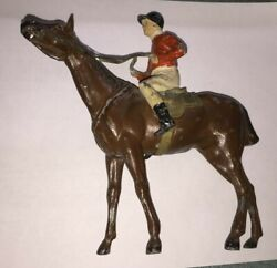 Germany Made Cold Paint 1920and039s Spelter Lead Figure Race Jockey 7 Long Rare