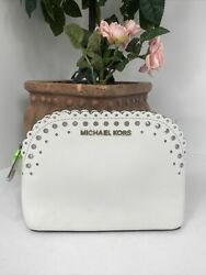 Michael Kors Cosmetic Bag Cindy White Leather Scalloped Perforated Edge Zip M8 $69.99
